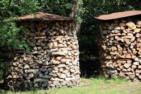 stacking wood logs and making unique designs for yard decorating