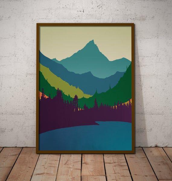 Mountain Art Print Mid Century Modern Wall Art Landscape Print Modern Art Print Original Art Office Art Pacific Northwest Art Mountain Art Print Pacific Northwest Art Modern Art Prints