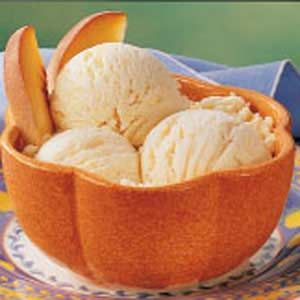Peach Ice Cream - this is wonderful ice cream!  You may need to do this in batches.  I have a Cuisinart ice cream maker and had to do this in two batches.