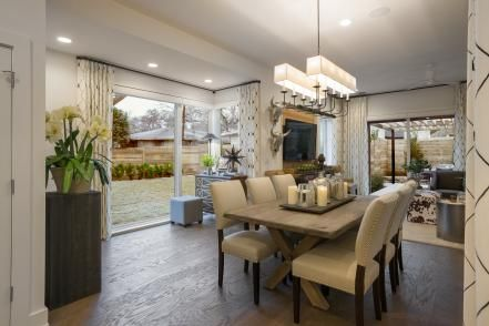 """We have really great designer lighting around the house. All of the decorative fixtures throughout the house use LED bulbs, including the candelabra bulbs above the dining table and all the lamps so we have a complete LED story here,"" says Jack."