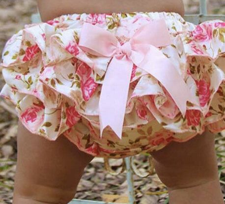 Baby Girls Diaper Cover Pink Floral Bloomer With Bow by shopATXdesigns on Etsy