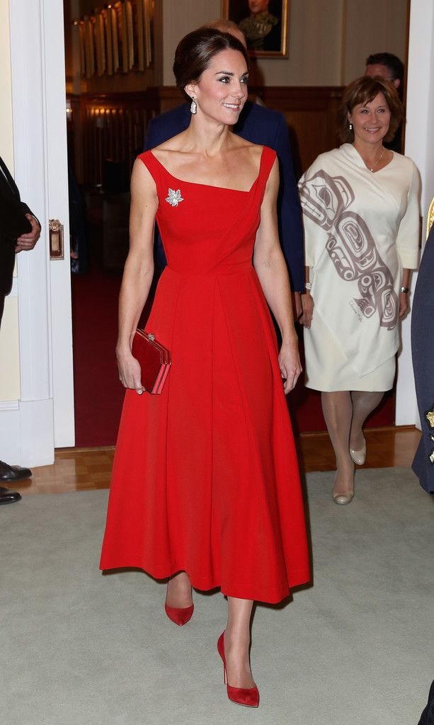 """VICTORIA 26 September - Reception Hosted by the Province of British Columbia  Preen """"Finella"""" Dress ($1750) Gianvito Rossi """"Gianvito"""" Pumps in Red ($675) Red Suede Clutch Soru Baroque Pearl Earrings ($170) HM's Diamond Maple Leaf Brooch"""