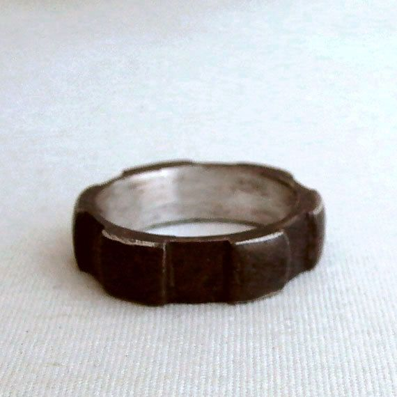 Thick Gear Ring - Size 7 - Oxidized - Sterling Silver - Gears - Rustic - Unisex - Mens - Industrial Chic - Urban - Nuts and Bolts Jewelry