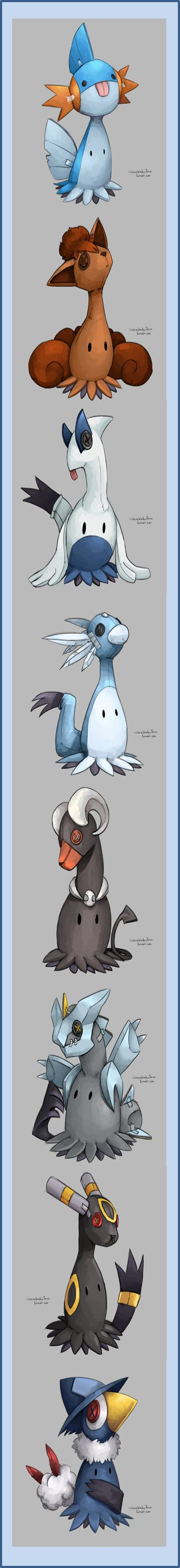 Because there aren't enough cute Pokemon on the internet!  These art prints by WhereShadowsThrive (Jiro's Bizarre Adventure), answer the question of what Mimikyu would look like if it didn't only dress up as Pikachu.  Turns out the variants (Shiny Mimikyu?) are flipping adorable, so enjoy the Disguise Pokemon in full cosplay as Mudkip, Vulpix, Lugia, Dragonair, Houndoom, Kyurem, Umbreon and Honchkrow.  Don't see your favorite?  The artist takes commissions, so you can ask to have one made!
