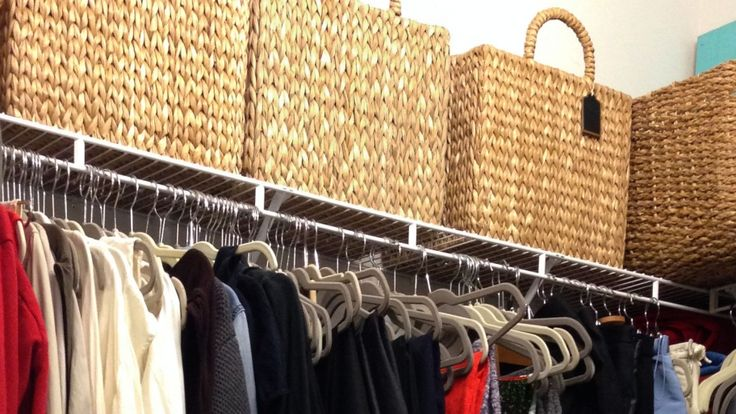 Baskets, slim hangers and other essentials for an organized closet.
