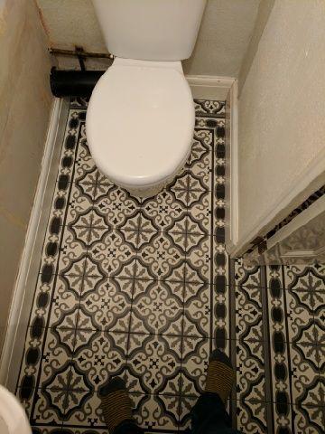newly tiled cloakroom. fired earth waverley abbey