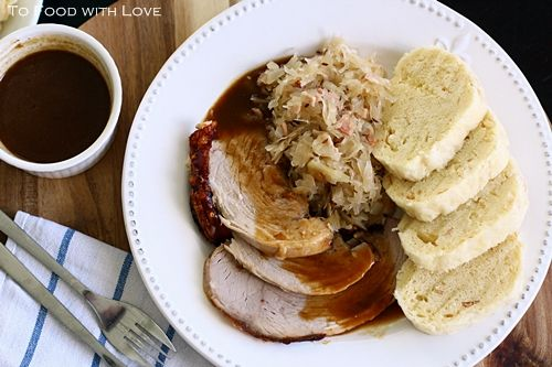 Vepro-Knedlo-Zelo (Czech Roast Pork with Dumplings and Sauerkraut)
