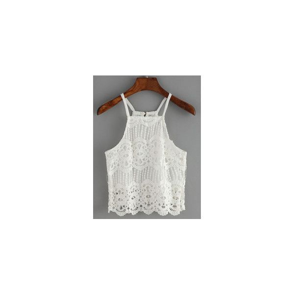 Spaghetti Strap Crochet Fringe Cami Top ❤ liked on Polyvore featuring tops, spaghetti strap camisole, cami top, crochet cami, spaghetti strap cami and fringe tank top
