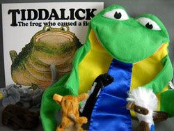 Aboriginal - Tiddalick the frog book and puppet set  Enjoy one of Australia's most well known Dreamtime story Tiddalick the frog that also comes with this puppet (5 finger puppets and 1 hand puppet) set