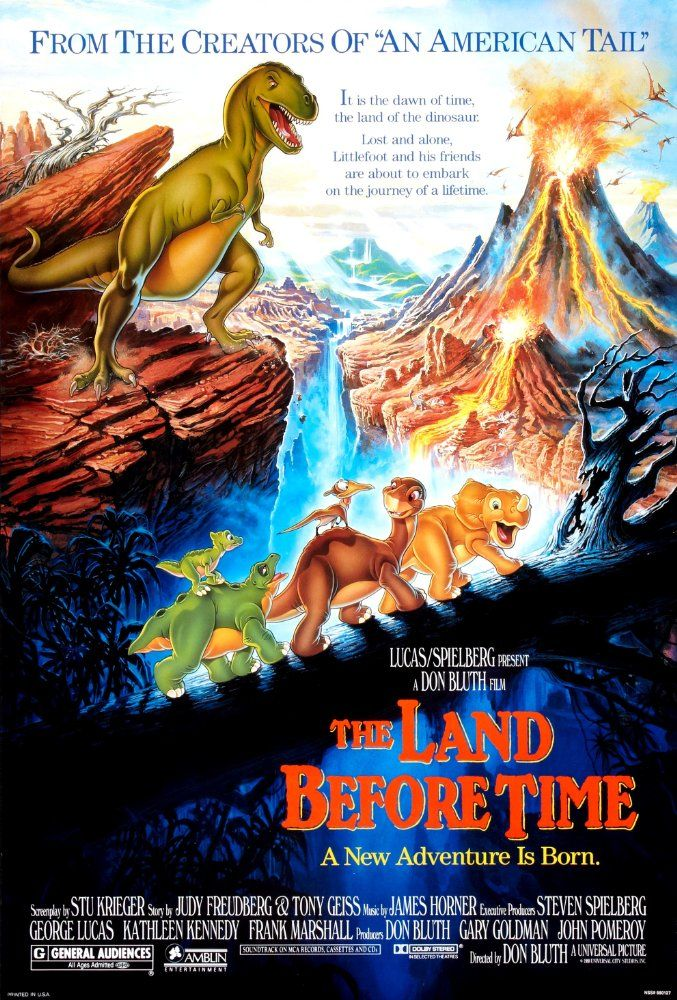 Directed by Don Bluth.  With Pat Hingle, Gabriel Damon, Judith Barsi, Helen Shaver. An orphaned brontosaurus teams up with other young dinosaurs in order to reunite with their families in a valley.