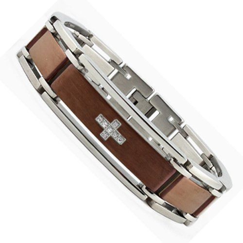 """Two Tone Brown Stainless Steel Bracelet with CZ Cross Design 8.5"""" Bonndorf. $29.99. Save 82%!"""