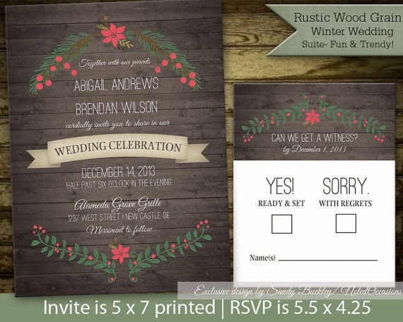 Rustic Winter Wedding Invitations | Wood Grain | Holy and Poinsettia Wreath for Rustic Country and barn Wedding DIY printable file by NotedOccasions, $45.00