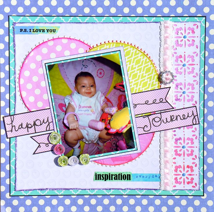 Baby Girl Scrapbook layout. Papers by K&Company. Sketch by ...
