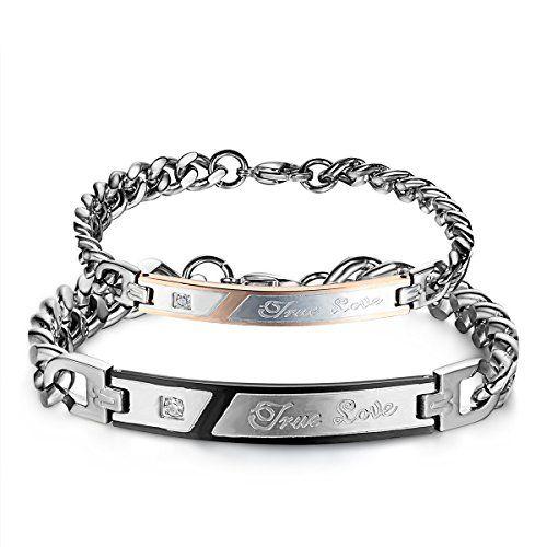 JewelryWe , 2 Pulseras de amor verdadero de acero inoxida https/