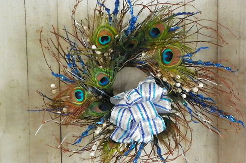 Blue/White/Silver Peacock Feather Wreath, Feather Door Wreath