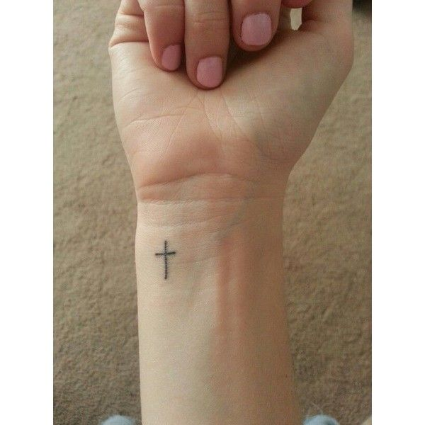 Small cross tattoo on wrist My style ❤ liked on Polyvore featuring accessories, body art and tattoos