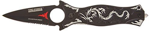 TAC Force TF-707GY Assisted Opening Folding Knife, Black Half-Serrated Blade, Grey Dragon Handle, 4-1/2-Inch Closed. For product info go to:  https://all4hiking.com/products/tac-force-tf-707gy-assisted-opening-folding-knife-black-half-serrated-blade-grey-dragon-handle-4-12-inch-closed/
