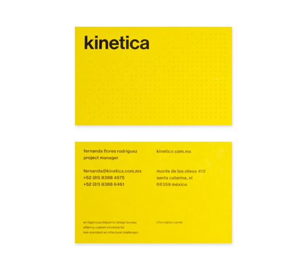 Business card design by Face for industrial design studio Kinetica. #Branding #Design #Architecture #Print #Stationery