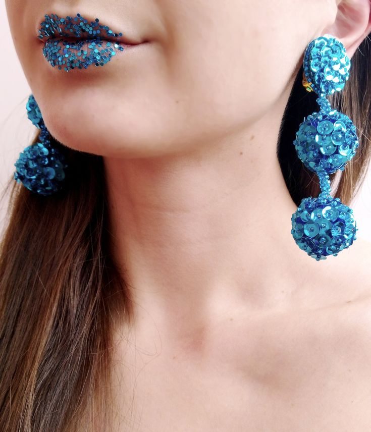Excited to share the latest addition to my #etsy shop: Blue ball drops earrings, sequins earrings, blue pompom earrings, blue bon bon #earrings, #boho chic #ball earrings, sparkle statement earrings http://etsy.me/2FIduOH