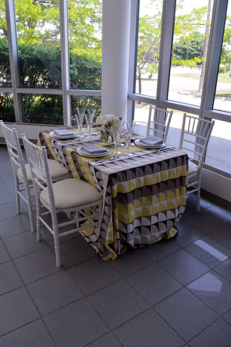 New Caprice Table Linen, White Chiavari Chair, Aria Oval China, Ultra Flatware, Bormioli Glassware & Grey Cotton Napkin | Chair-man Mills