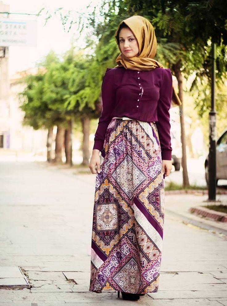Eteği Desenli Elbise 34 - Mor - Minel Aşk