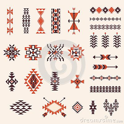 Native american navajo aztec pattern vector set