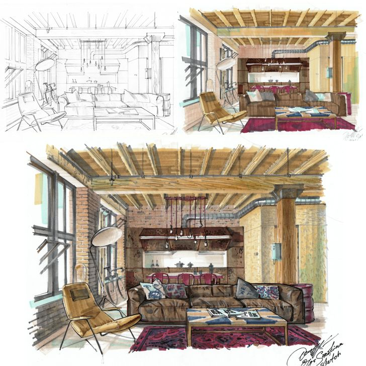 E Course On Hand Rendering With Markers Basic Level For Interior Designers By Olga Sorokina Www Olgaart888 Com Interior Drawing One Point Per