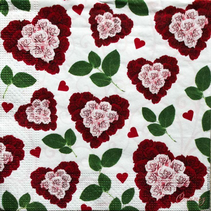 Купить салфетки для декупажа цветочные сердца салфетки декупажные - салфетки, Декупаж, декупаж и роспись