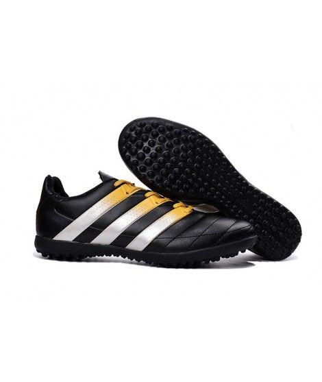 Adidas ACE 16.3 TF Zapatillas Futbol Sala Hombres Botas De Fútbol Negro Blanco Oro