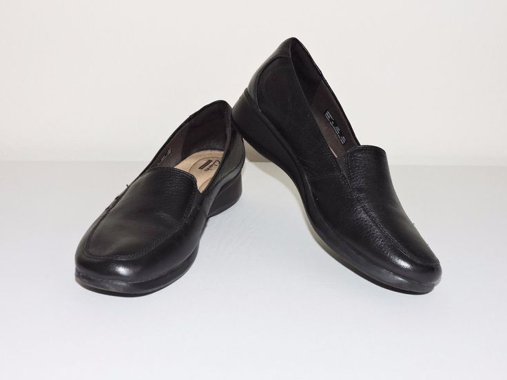 Clarks Gael Angora Black Shoes Womens 11M Slip On Loafers Casual Career EUC