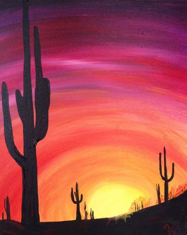 40 Simple And Easy Acrylic Landscape Painting Ideas Acrylic Easy Ideas Landscape Paint In 2020 Easy Landscape Paintings Landscape Paintings Acrylic Desert Painting