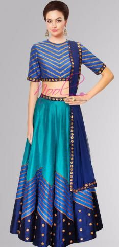 Traditional Langa Voni Blue Bangalori Silk Lacha SemiStitch ND1141D006