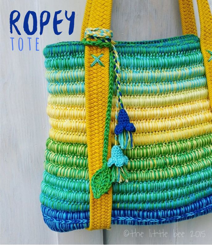 The Ropey Tote ~ crochet pattern from The little bee http://www.ravelry.com/patterns/library/ropey-tote