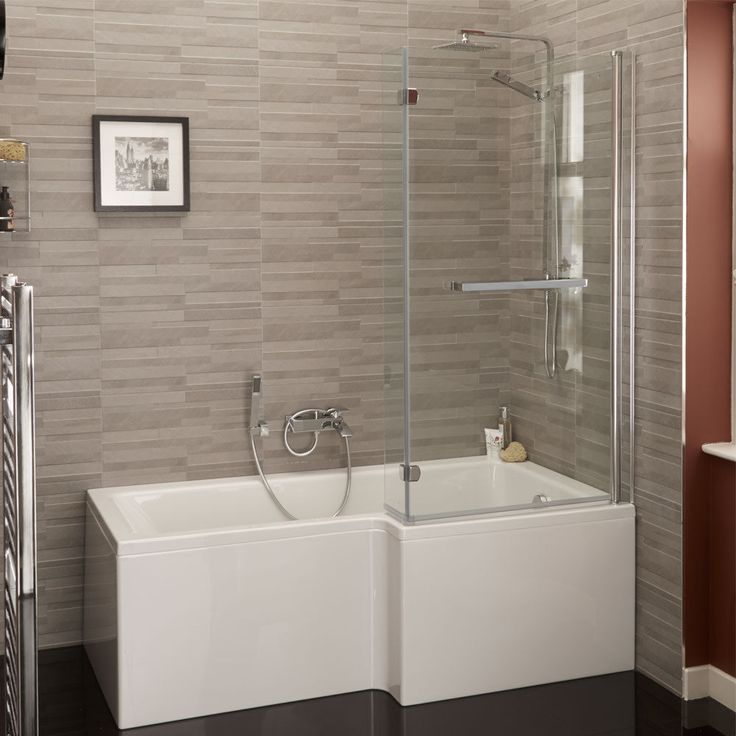 acrylic panels for bathroom walls%0A L Shape      Right Hand Shower Bath Tub Includes Hinged Screen Front End  Panels