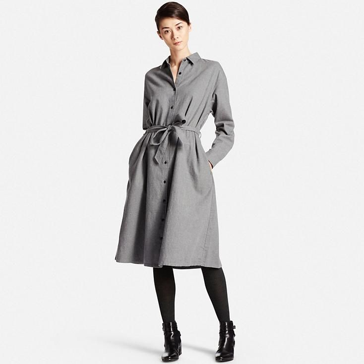 WOMEN FLANNEL LONG SLEEVE SHIRT DRESS | UNIQLO