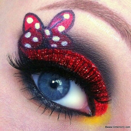 Minnie Mouse Inspired Makeup Look Red Glitter Eyeshadow White Polka Dot Red Bow