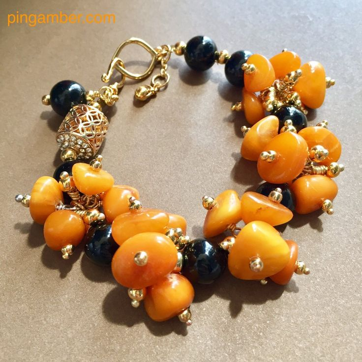 Antique Baltic Amber With Agate Bracelet - Summer