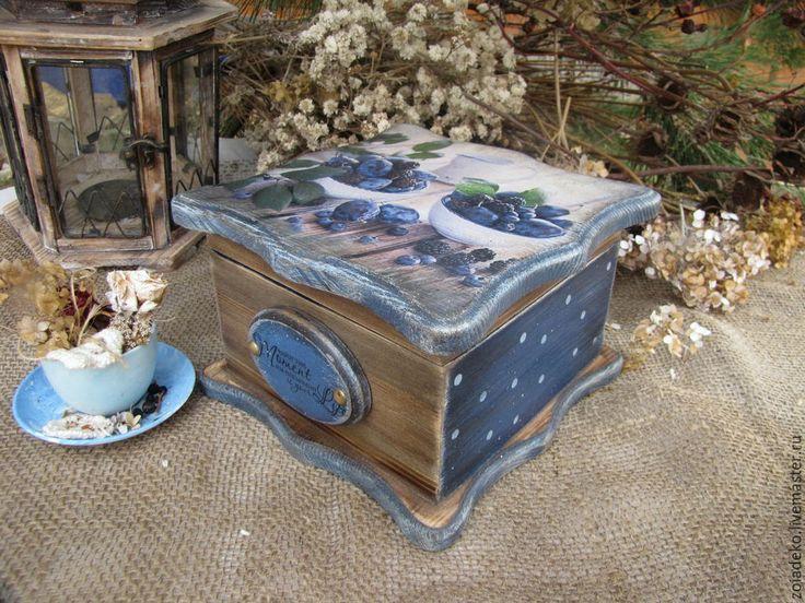 """Купить Большой чайный короб """"Сливовый соблазн"""" - синий, короб, короб для хранения, короб для кухни"""