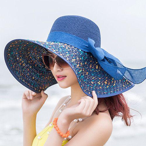 [Dexing]2017Elegant fashion Seaside sun visor hat female summer sun hats for women large brim straw sun hat folding beach girls