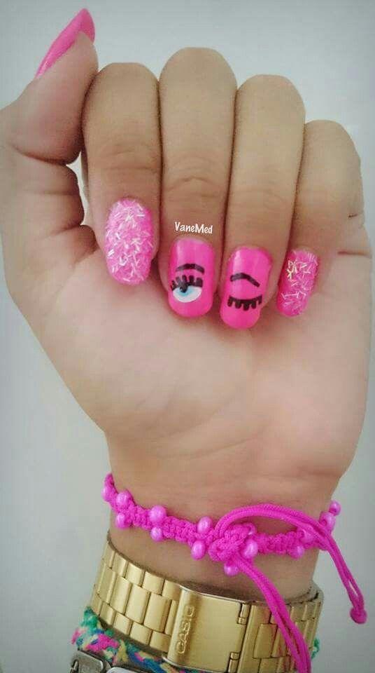 #blinkeyes #nail #art #fucsia #Pink #glitter #rosa #ojos #coquetos #style #lashes