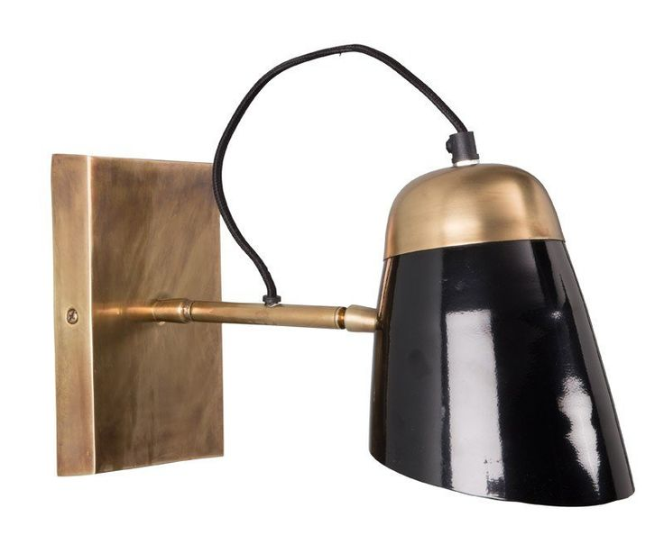Dutchbone+-+Old+School+Væglampe+-+Sort+-+Old+School+væglampe+fra+Dutchbone+i+formstøbt+messingfarvet+aluminium.+Selve+lampeskærmen+er+også+i+aluminium,+men+er+dog+i+sort+højglans.+Old+School+væglampen+emmer+af+nostalgi+og+elegance+og+vil+give+din+stue,+dit+soveværelse+eller+dit+kontor+lidt+ekstra+kulør.