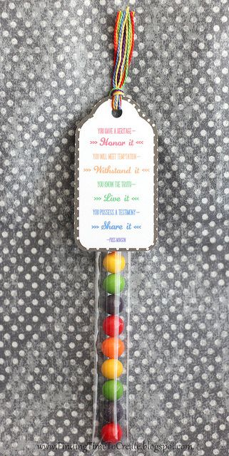Pillow Treats: Candy tube with tag for Girls Camp