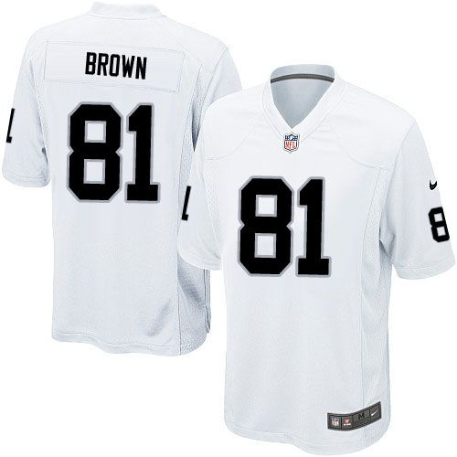 Youth Nike Oakland Raiders #81 Tim Brown Limited White NFL Jersey Sale