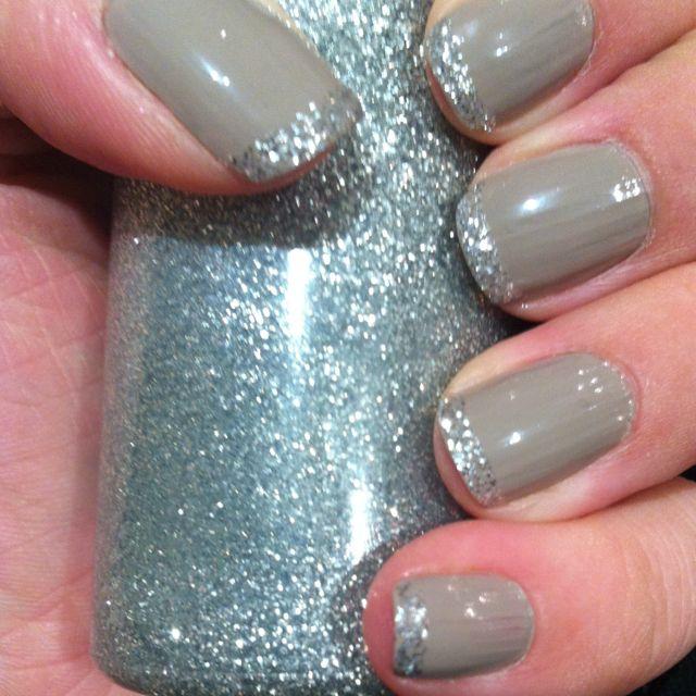 Revlon Smoky Canvas polish + silver craft glue = pretty manicure