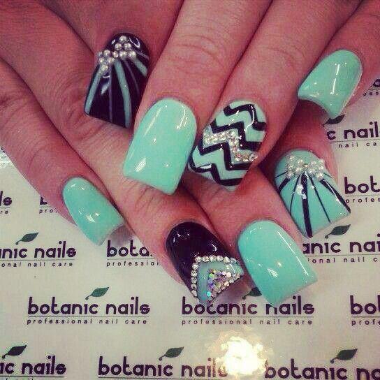 turquoise chevron nails