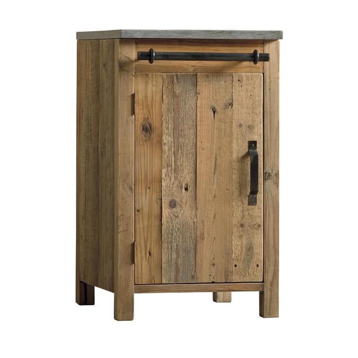 muebles cocina Mueble cocina de madera envejecida y mármol gris