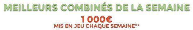 1 000€ à gagner sur les meilleurs paris combinés ParionsWeb . Jusqu'au 21 juin, ParionsWeb met en jeu la somme de 1 000€ à gagner par semaine pour les 3 meilleurs combinés avec des bonus allant de 200 euros à 500 euros