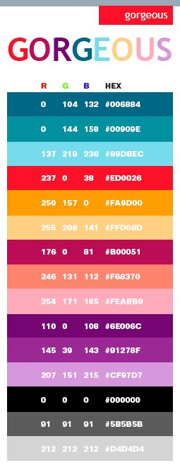 Gorgeous Colors - RGB Codes