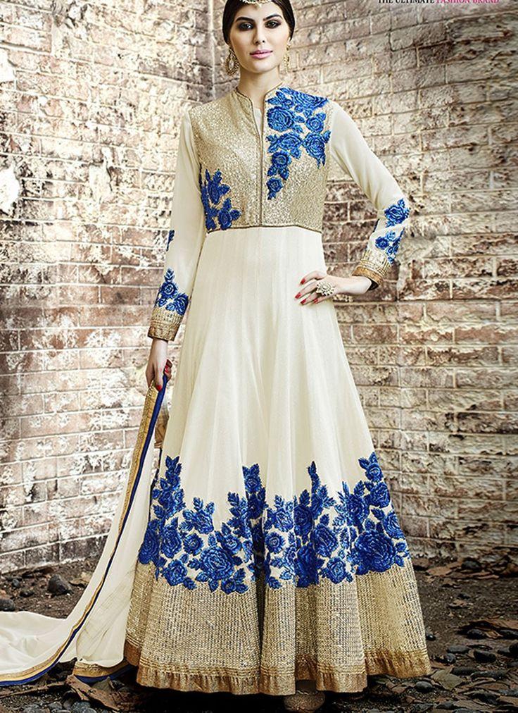 Aristocratic Off White Georgette Designer Anarkali Salwar Kameez