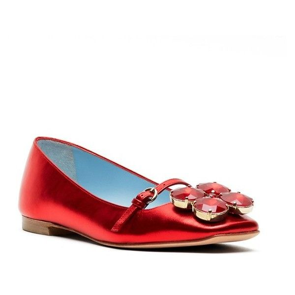 Women's Frances Valentine 'Josephine' Ballet Flat ($495) ❤ liked on Polyvore featuring shoes, flats, red, ballet pumps, red shoes, metallic ballet flats, red sparkly shoes and metallic flats